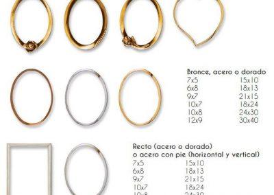 Marcos Metálicos en color Bronce, Acero o Dorado y diferentes formas: Rectangular, Ovalado o Corazón